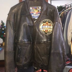 VINTAGE Mickey Motors Leather Bomber Jacket